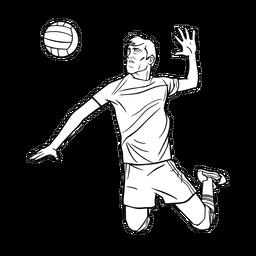 Jugador de voleibol masculino golpe de golpe