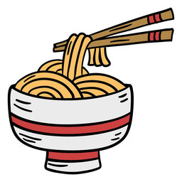Palillo de tazón de fideos aisan dibujado a mano