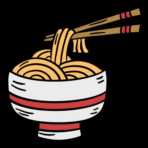 Hand drawn aisan noodle bowl chopstick