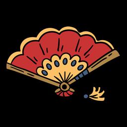 Abanico chino dibujado a mano