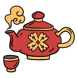 Hand drawn chinese teapot cup