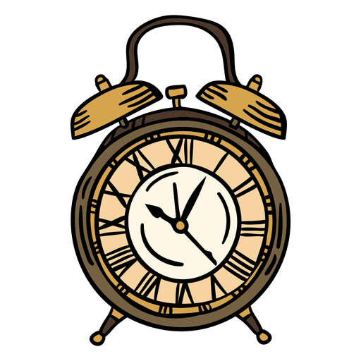 Hand drawn classic alarm clock
