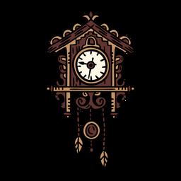 Reloj coo coo clásico dibujado a mano