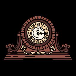 Reloj de repisa clásico dibujado a mano