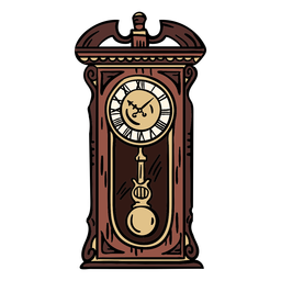 Hand drawn classic pendulum clock