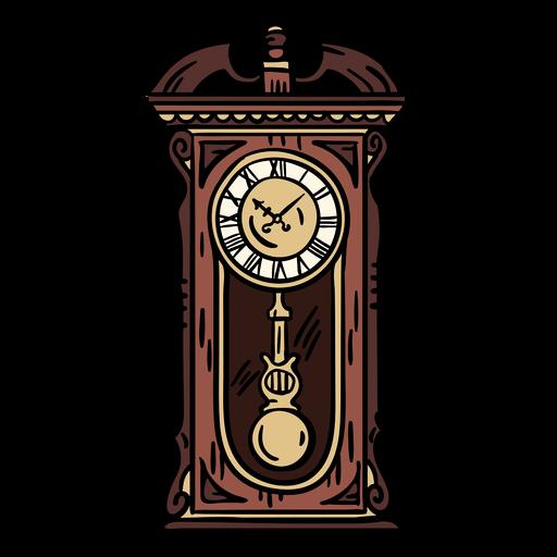 Hand drawn classic pendulum clock