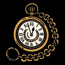 Reloj de bolsillo clásico dibujado a mano