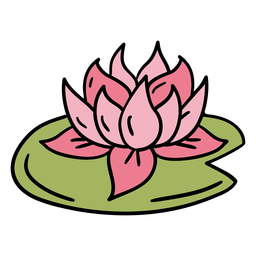 Hand drawn floating lotus