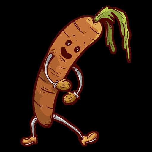 Dibujado a mano cara amigable zanahoria Transparent PNG