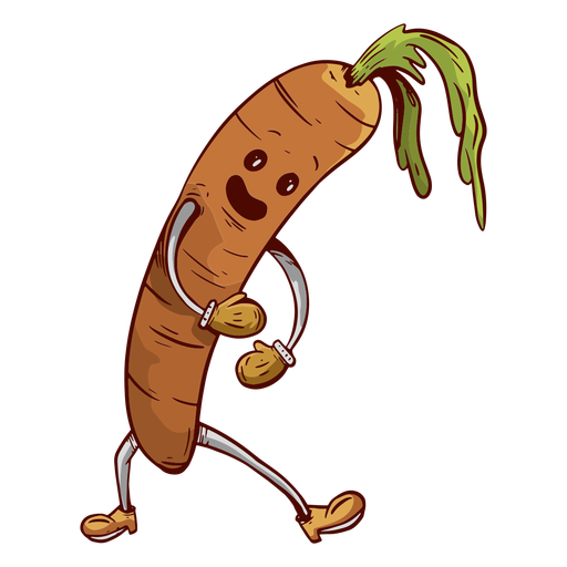 Zanahoria cara amiga dibujada a mano