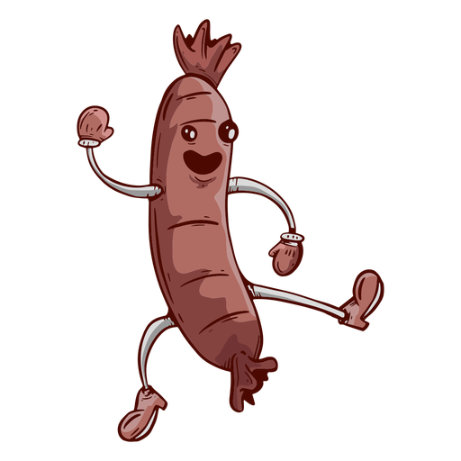 Hand drawn friendly face sausage