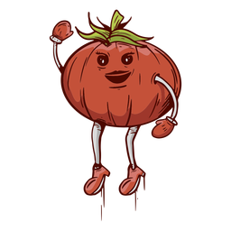 Hand drawn friendly face tomato