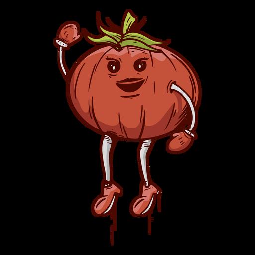 Hand drawn friendly face tomato