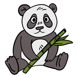 Hand drawn panda bamboo