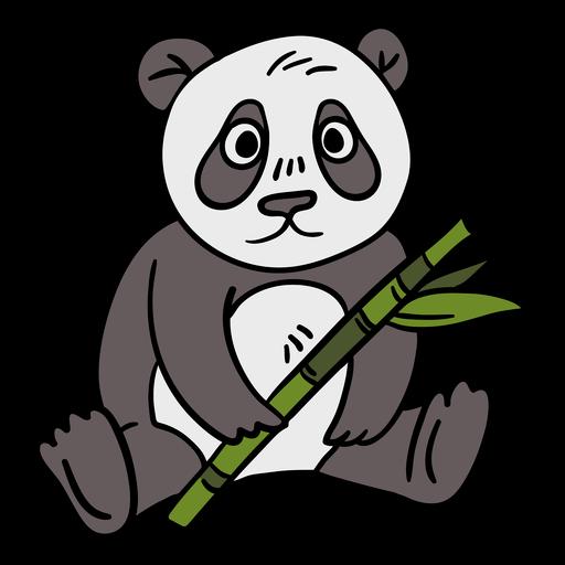 Hand drawn panda bamboo