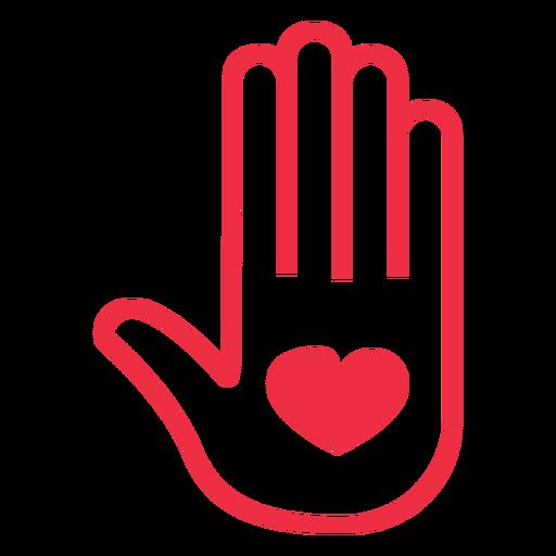 Símbolo de adopción de corazón de mano