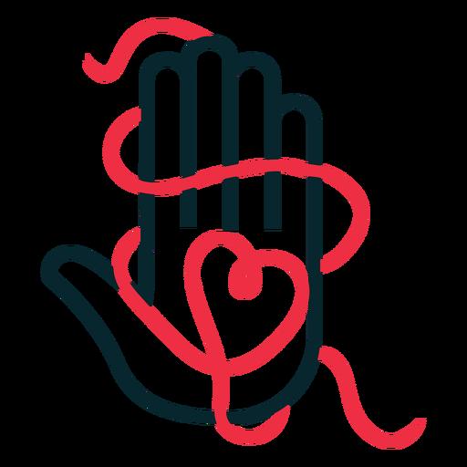 Símbolo de adopción de cadena de corazón de mano