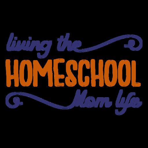Letras manuscritas de la vida de la mamá de la educación en casa