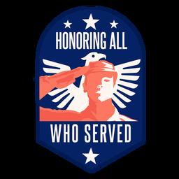 Honor veterano insignia de ala de águila salue