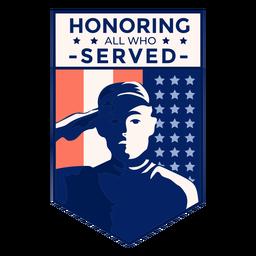 Distintivo de bandeira dos EUA veterano de honra