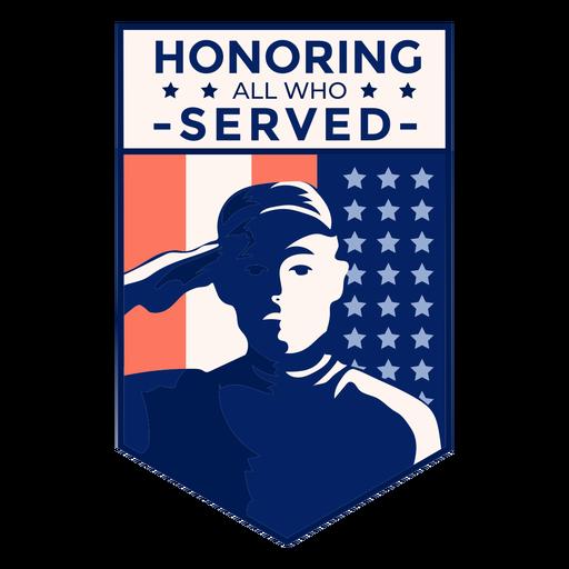 Honor veterano insignia de la bandera de estados unidos