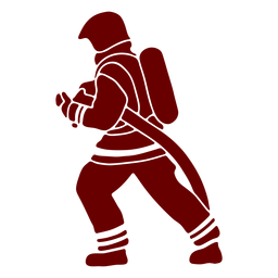 Hose firefighter profile silhouette