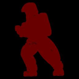 Silueta de perfil de bombero de manguera