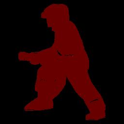 Silueta de bombero de perfil de manguera