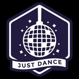 Insignia hexagonal de bola de discoteca solo bailando
