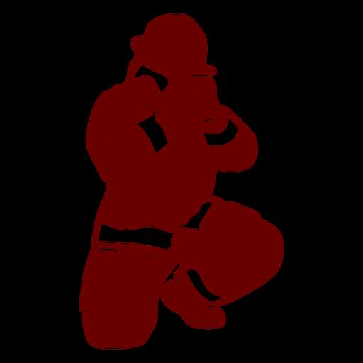 Kneeling firefighter silhouette Transparent PNG