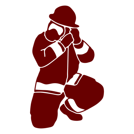 Kneeling firefighter silhouette