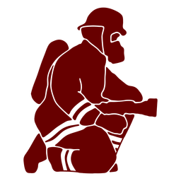 Kneeling mask firefighter silhouette