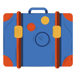 Ornage blue luggage illustration