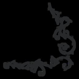 Trazo de borde de espina de remolino ornamental