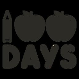 Lápis maçã 100 dias letras da escola