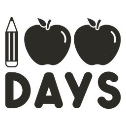 Pencil apple 100 days school lettering