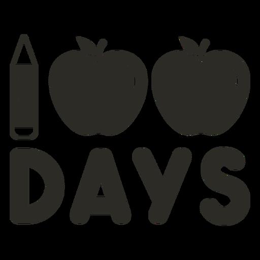 Pencil apple 100 days school lettering Transparent PNG