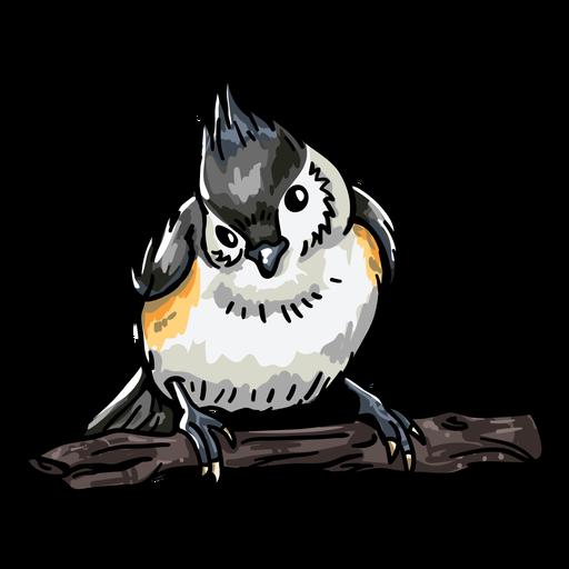 Vista frontal de pájaro dibujado a mano realista