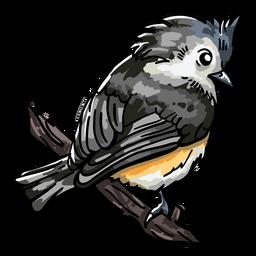 Realistic hand drawn bird perching