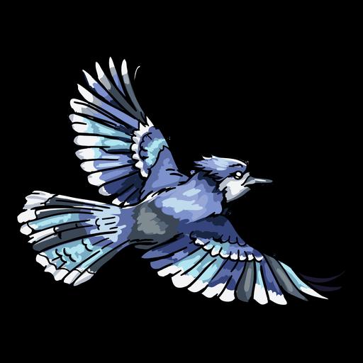 Realistic hand drawn blue jay flying