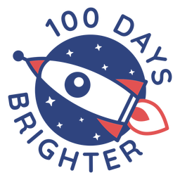 Letras de escola brilhante foguete 100 dias