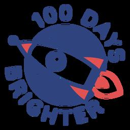 Letras escolares de cohete 100 días más brillante