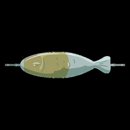 Brocheta de pescado azul verde símbolo plano