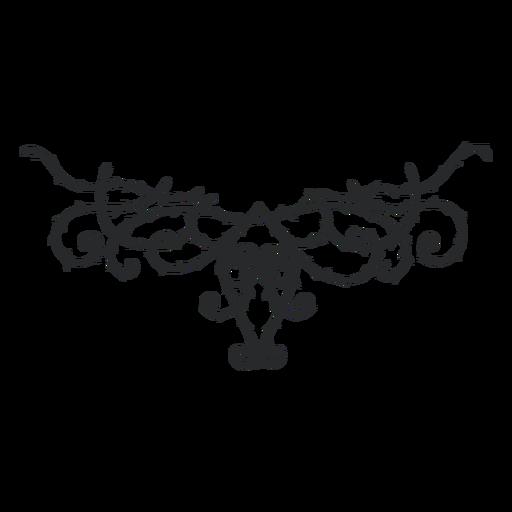 Symmetrical ornamental swirl thorn divider