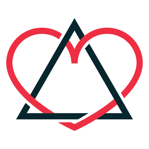 Triangle heart adoption symbol