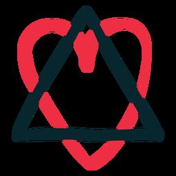 Triangle heart adoption symbol hand drawn