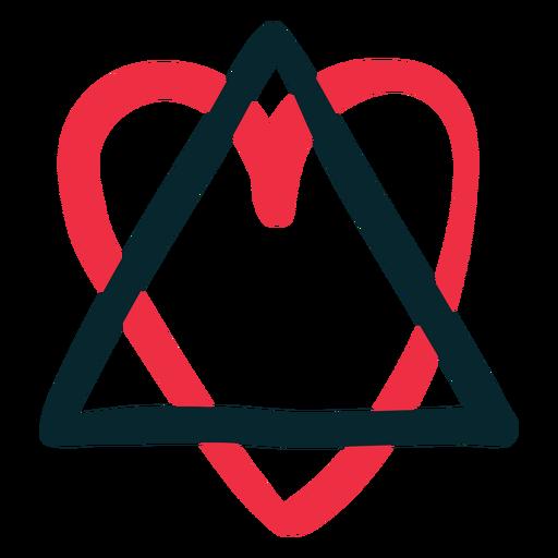 Dibujado a mano triángulo corazón adopción símbolo