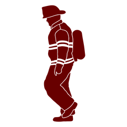 Walking profile firefighter silhouette