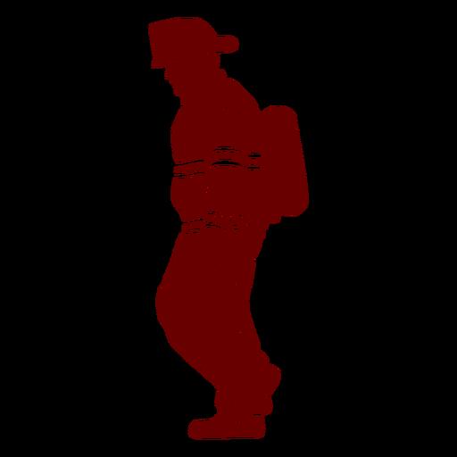Walking profile firefighter silhouette