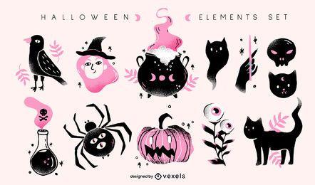 Halloween-Elemente Illustrationssatz